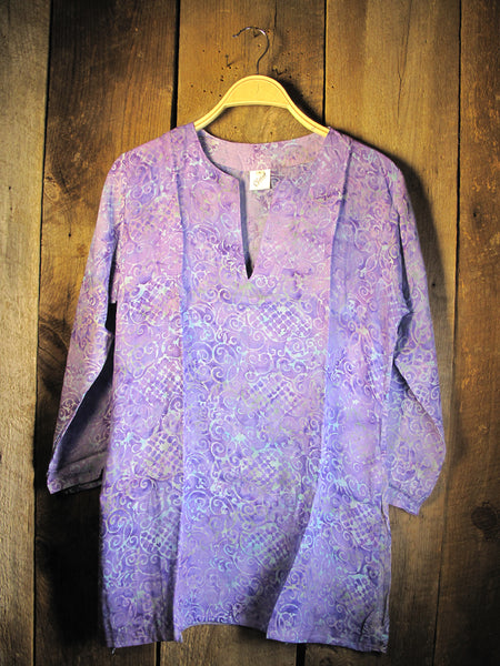 Batik Tunic in Lilac Waves
