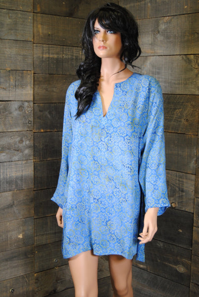 Batik Tunics Floret in Blue - Girl Intuitive