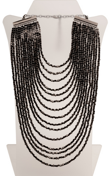 Beaded Bib Statement Necklace in Hematite