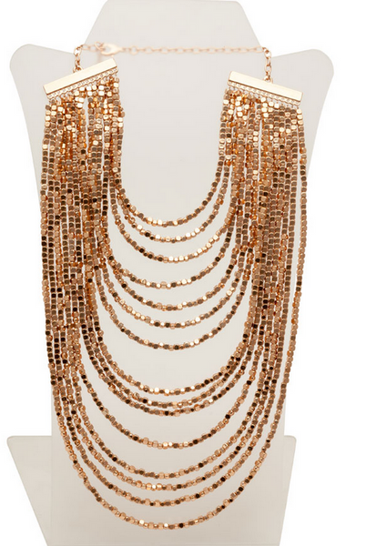 Beaded Bib Statement Necklace Rose Gold