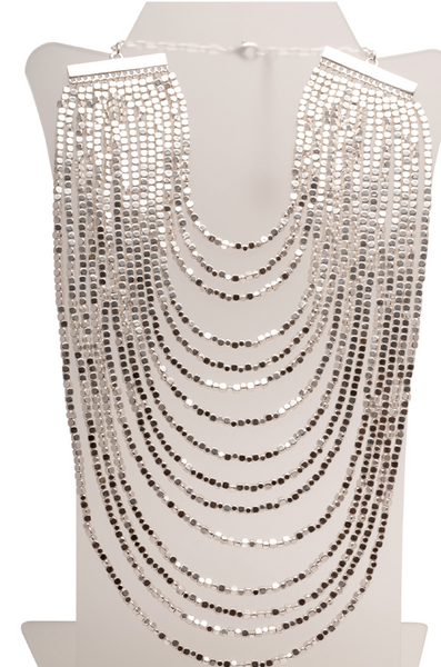 Beaded Bib Statement Necklace in Silver