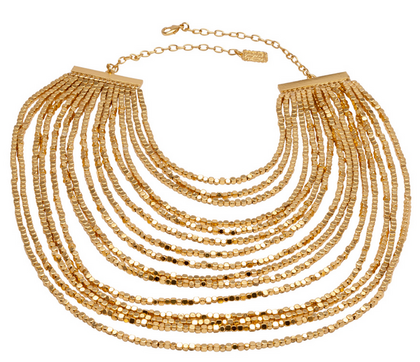 Beaded Bib Statement Necklace Gold