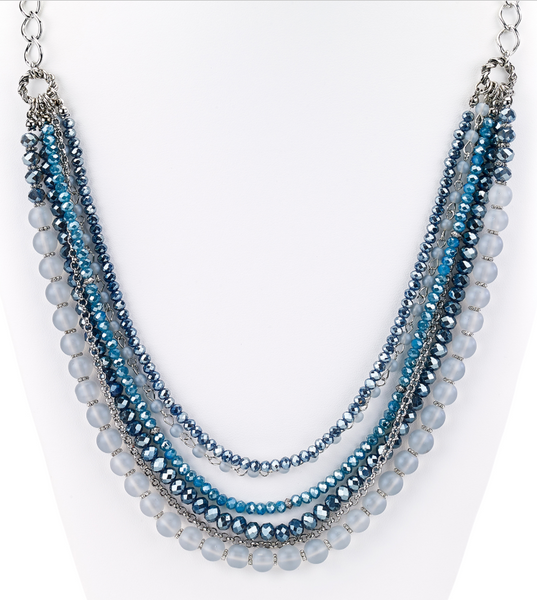 Beaded Glass Statement Long Necklace Blue