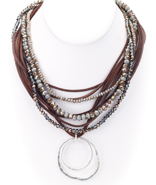 Beaded Leather Necklace with Silver Pendant