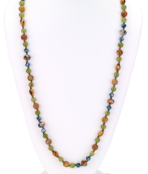 Beaded Long Necklace in Fall Colors