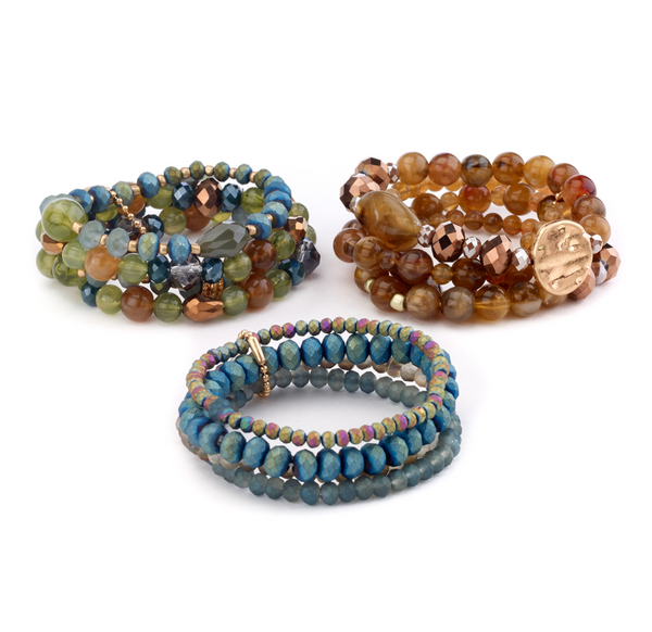 Beaded Stretch Bracelets in Fall Colors