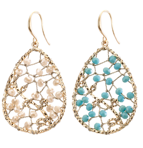 Beaded Web Teardrop Earrings