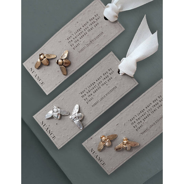 Bee Stud Earrings - On Plantable Card
