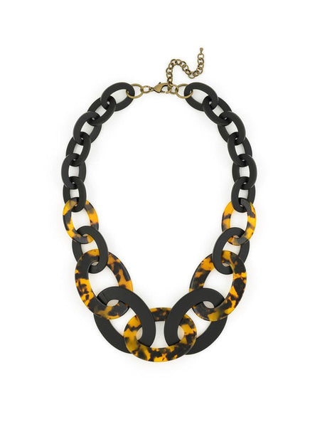 Black and Tortoise Link Necklace