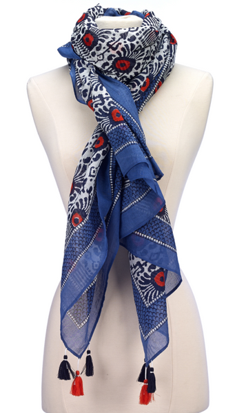 Block Print Cotton Scarf Blue