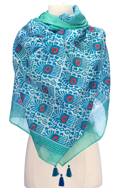 Block Print Cotton Scarf Green