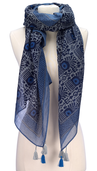 Block Print Cotton Scarf Grey