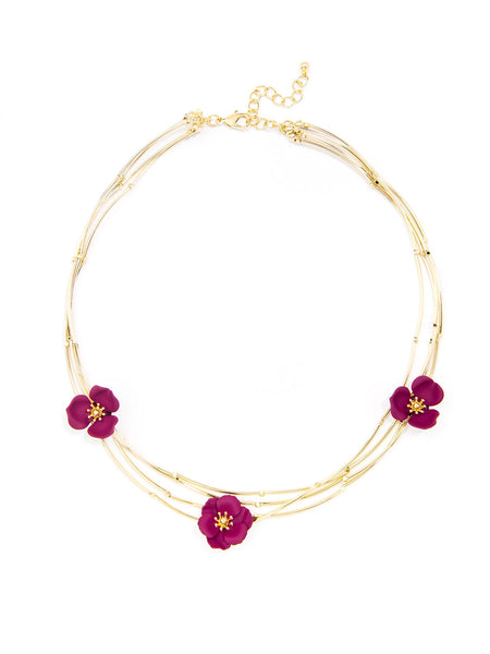 Blooming Lotus Layered Collar Necklace burgundy