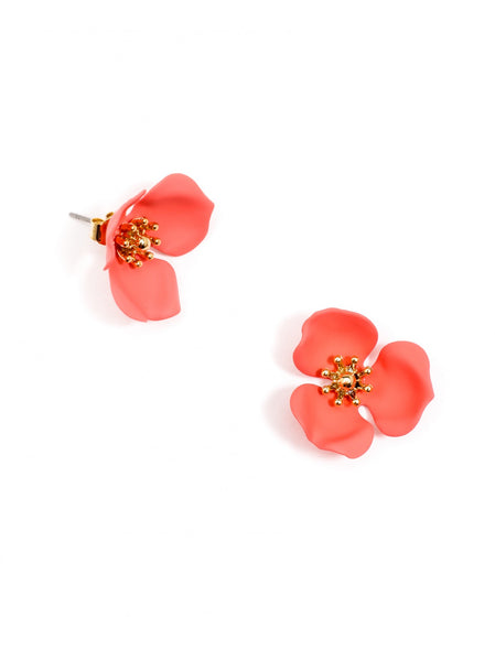 Blooming Lotus Stud Earrings coral