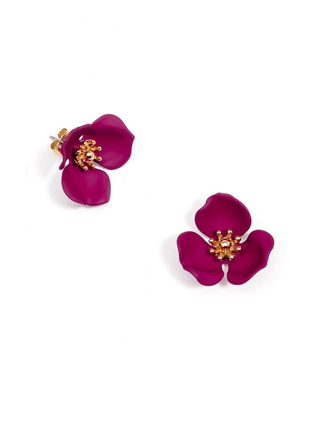 Blooming Lotus Stud Earrings burgundy