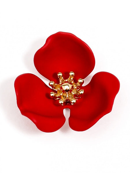 Blooming Lotus Stud Earrings red