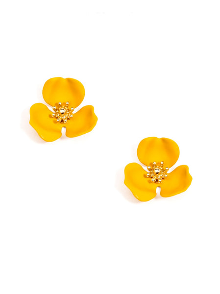 Blooming Lotus Stud Earrings yellow