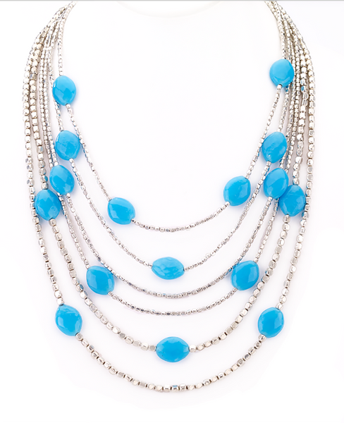 Blue Beads Silver Necklace