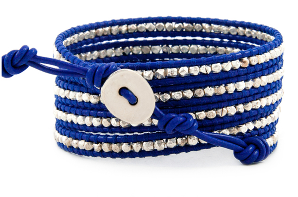 Wrap Blue Leather Bracelet