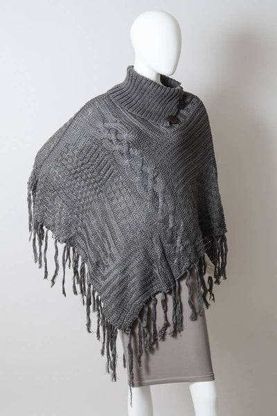 Bohemian Cable Knit Poncho With Tassels