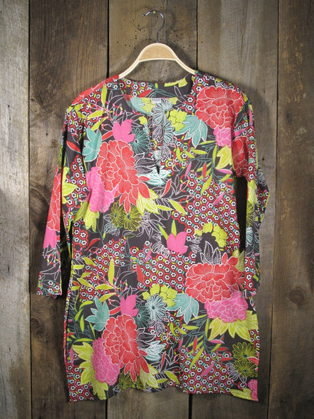 Cotton Tunic Top in Bold Flowers
