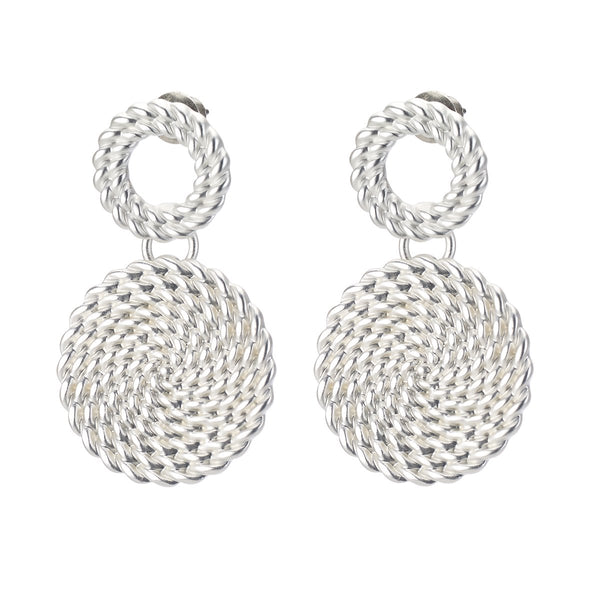 Braided Metal Stud Drop Earrings