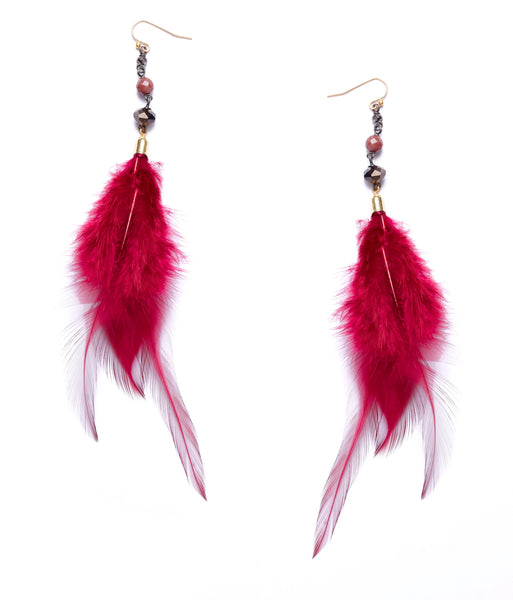 Nakamol Burgundy Feather Earrings