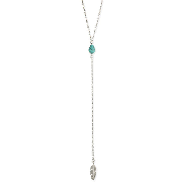 Silver Turquoise and Feather Y Necklace