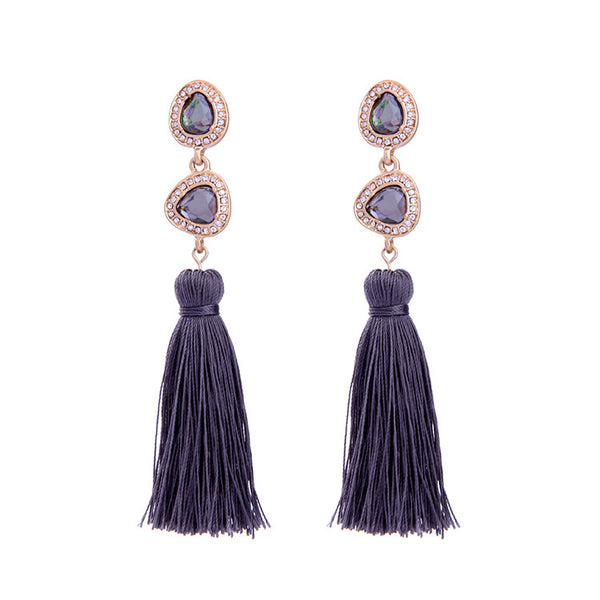 Cabochon Tassel Earrings