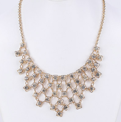 Cascading Crystal Statement Bib Necklace