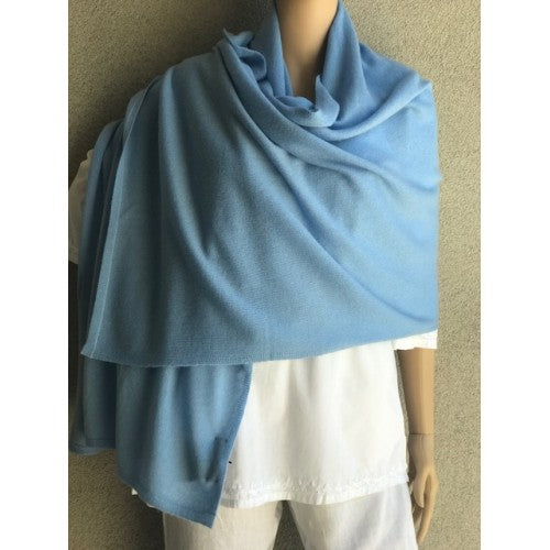 Scarves - Cashmere Travel Solid Scarf - Girl Intuitive - Dolma - Light Blue