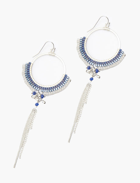 Chain Tassel Fan Drop Blue Earrings