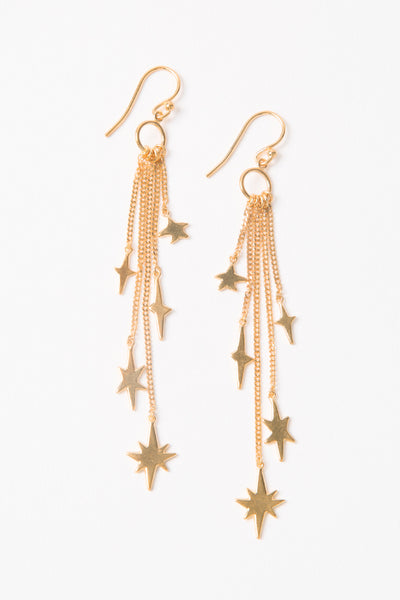 Chan Luu Gold Star Chain Dangle Earrings