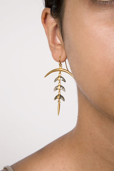 Chan Luu Labradorite Crescent Earrings in Gold