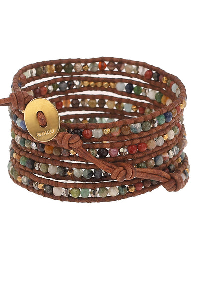 Chan Luu Multi Cabochon Wrap Bracelet gold button
