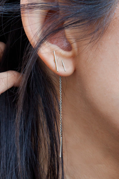 Chan Luu Silver Bar Chain Thread Earrings ear