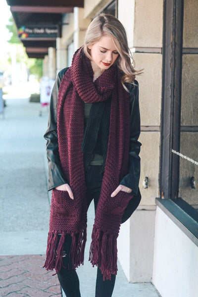 Chunky Oversized Two Pocket Tassel Scarf