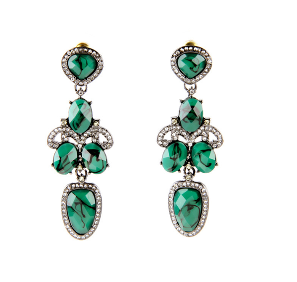 Classic Dark Green Statement Earrings