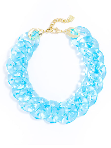 Clear Links Collar Necklace blue