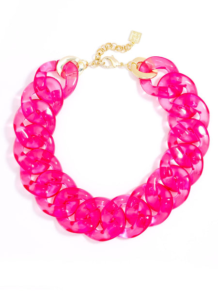 Clear Links Collar Necklace pink