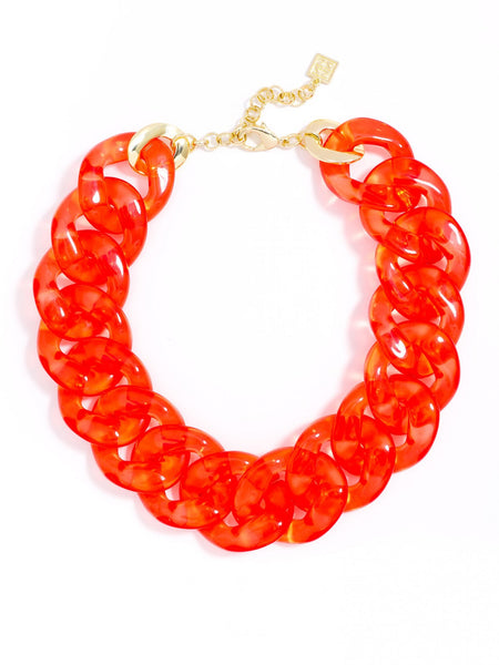 Clear Links Collar Necklace red