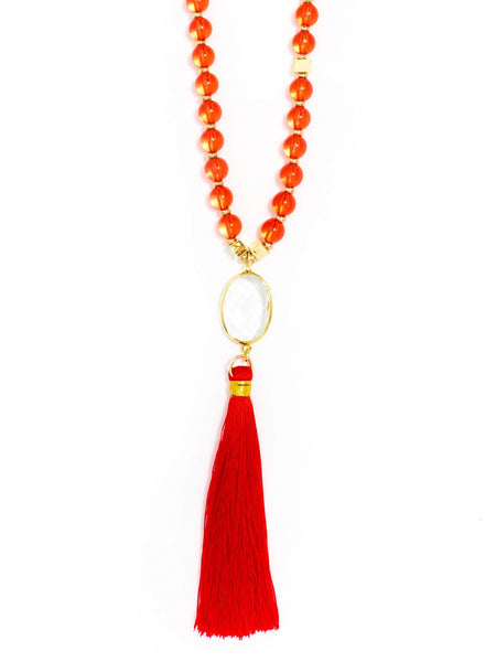 Clear Fringed Long Necklace red