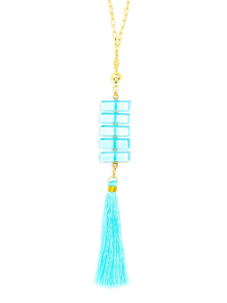 Clear Stacked Tassel Long Necklace blue