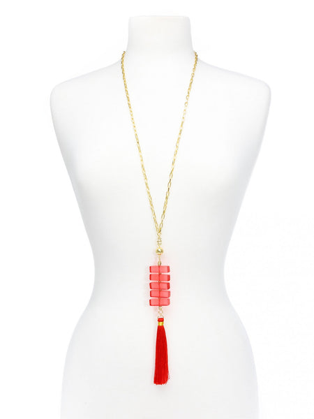 Clear Stacked Tassel Long Necklace red