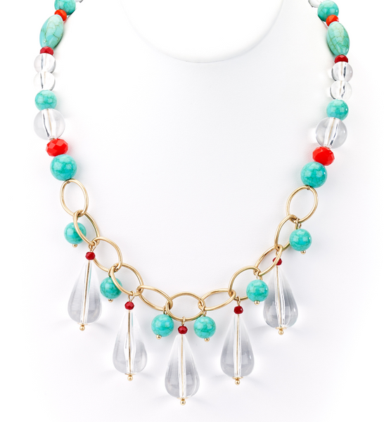 Clear Teardrops and Turquoise Beads Collar Necklace