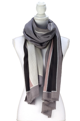 Color Block Design Scarf grey