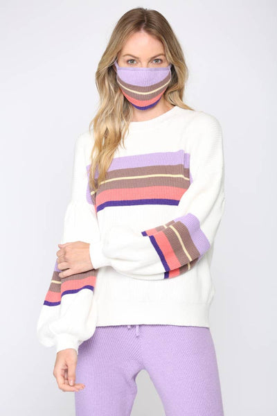 Balloon Sleeve Color Block Sweater with Matching Face Mask