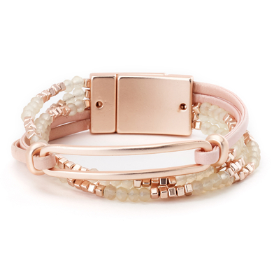 Combo Leather Bracelet with Oval Link rose gold
