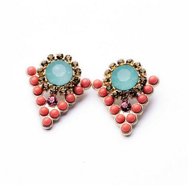 Coral and Aqua Stud Earrings