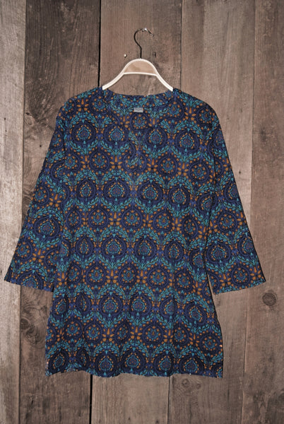 Cotton Tunic Top Bohemian Print